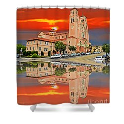 St Anne Church Of The Sunset In San Francisco With A Reflection  Shower Curtain by Jim Fitzpatrick