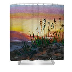 Beach At Sunrise Shower Curtain by Michael Daniels