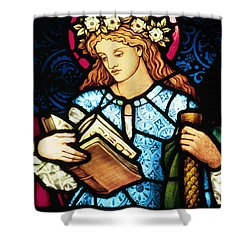 St Catherine Of Alexandria In Stained Glass Shower Curtain by Philip Ralley