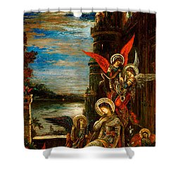 St Cecilia The Angels Announcing Her Coming Martyrdom Shower Curtain by Gustave Moreau