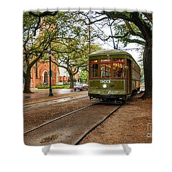 St. Charles Ave. Streetcar In New Orleans Shower Curtain by Kathleen K Parker