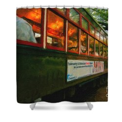 St. Charles Ave Streetcar Whizzes By - Digital Art Shower Curtain by Kathleen K Parker