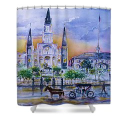 Shower Curtain featuring the painting St. Charles New Orleans Sunset by Bernadette Krupa