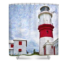 Shower Curtain featuring the photograph St. David's Lighthouse by Verena Matthew