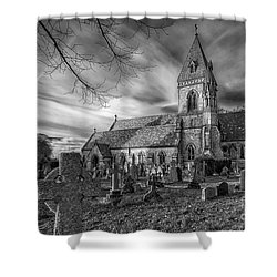 St David's Pantasaph Shower Curtain by Adrian Evans