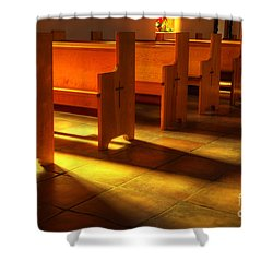 St Francis De Paula Shadow And Light Shower Curtain by Bob Christopher