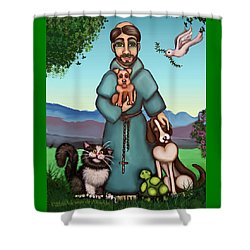 St. Francis Libertys Blessing Shower Curtain by Victoria De Almeida