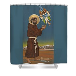 Shower Curtain featuring the painting St. Francis Patron Of Colorado 186 by William Hart McNichols