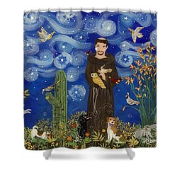 St. Francis Starry Night Shower Curtain by Sue Betanzos