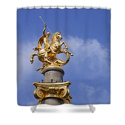 St George And The Dragon Statue In Tbilisi Shower Curtain by Robert Preston
