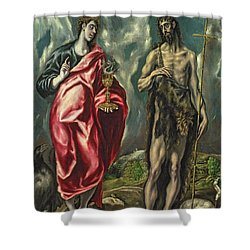 St John The Evangelist And St John The Baptist Shower Curtain by El Greco Domenico Theotocopuli