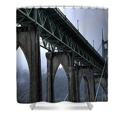 St Johns Bridge Oregon Shower Curtain by Bob Christopher