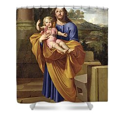 St. Joseph Carrying The Infant Jesus Shower Curtain by Pierre  Letellier