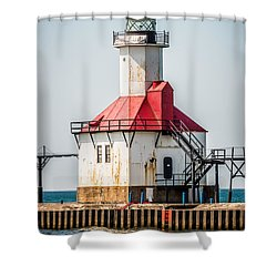 St. Joseph Michigan Lighthouse Picture  Shower Curtain by Paul Velgos