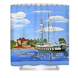 Shower Curtain featuring the painting St Lawrence Waterway 1000 Islands by Phyllis Kaltenbach