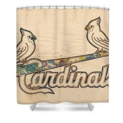 St Louis Cardinals Poster Art Shower Curtain by Florian Rodarte