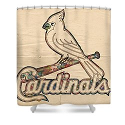 St Louis Cardinals Poster Vintage Shower Curtain by Florian Rodarte