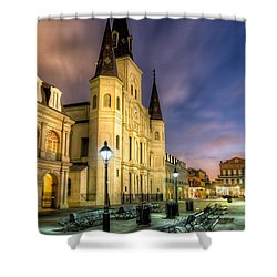 Shower Curtain featuring the photograph St. Louis Cathedral At Dawn by Tim Stanley