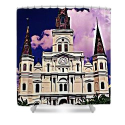 St Louis Cathedral In New Orleans Shower Curtain by John Malone