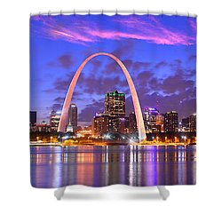St. Louis Skyline At Dusk Gateway Arch Color Panorama Missouri Shower Curtain