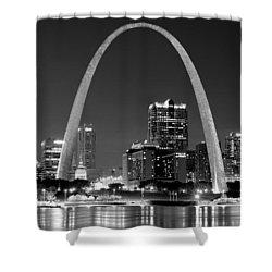St. Louis Skyline At Night Gateway Arch Black And White Bw Panorama Missouri Shower Curtain