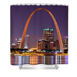St. Louis Skyline At Night Gateway Arch Color Panorama Missouri Shower Curtain