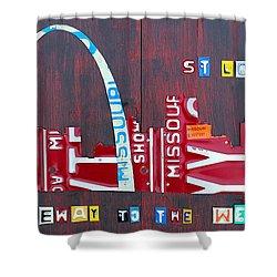St. Louis Skyline License Plate Art Shower Curtain by Design Turnpike