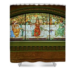St Louis Union Station Allegorical Window Shower Curtain by Greg Kluempers
