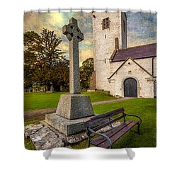 St. Marcellas Celtic Cross Shower Curtain by Adrian Evans