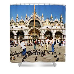 Shower Curtain featuring the photograph St. Mark's Basilica  by Allen Beatty