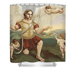 St. Michael The Archangel Shower Curtain by Shelley Irish