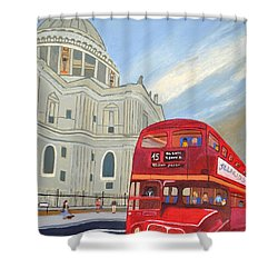 St. Paul Cathedral And London Bus Shower Curtain by Magdalena Frohnsdorff