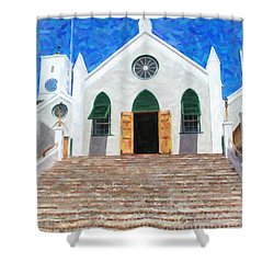 Shower Curtain featuring the photograph St. Peter's Church  by Verena Matthew