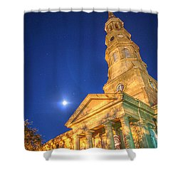 St. Phillip's At Night With Moon And Stars Shower Curtain