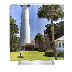 St. Simmons Lighthouse Shower Curtain by Linda Blair