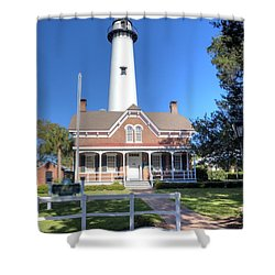 Shower Curtain featuring the photograph St. Simons Island Light Station by Gordon Elwell