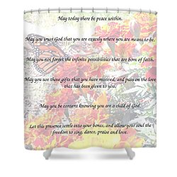 Shower Curtain featuring the painting St Theresa's Prayer by Linda Feinberg