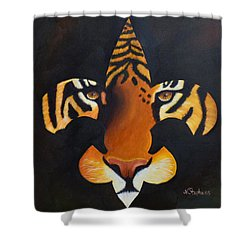St. Tiger Shower Curtain by Nina Stephens