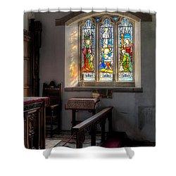 St Tysilio Window  Shower Curtain by Adrian Evans