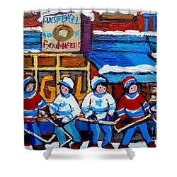 St Viateur Bagel Hockey Game Montreal City Scene Shower Curtain by Carole Spandau