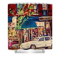 St Viateur Bagel Shop Corner Park Avenue Montreal Streetscenes Shower Curtain by Carole Spandau