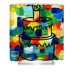 Stl250 Birthday Cake Abstract Shower Curtain by Genevieve Esson
