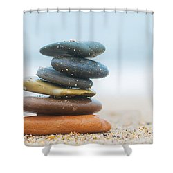 Stack Of Beach Stones On Sand Shower Curtain by Michal Bednarek