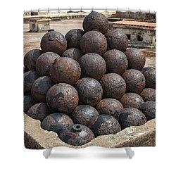 Stack Of Cannon Balls At Castillo San Felipe Del Morro Shower Curtain