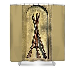Stacked Musketry No. 1a - Monument To The 151st Pennsylvania Volunteer Infantry At Gettysburg Shower Curtain by Michael Mazaika