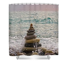 Stacking Stones Shower Curtain by Stelios Kleanthous