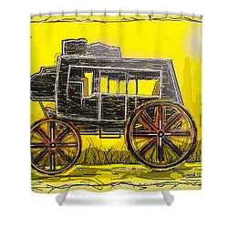 Shower Curtain featuring the mixed media Stagecoach by Jason Girard