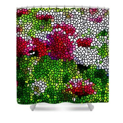 Stained Glass Chrysanthemum Flowers Shower Curtain by Lanjee Chee