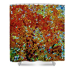 Stained Glass Fall Orange Maple Tree Shower Curtain by Lanjee Chee