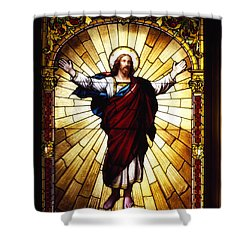 Stained Glass Jesus Shower Curtain by Mountain Dreams